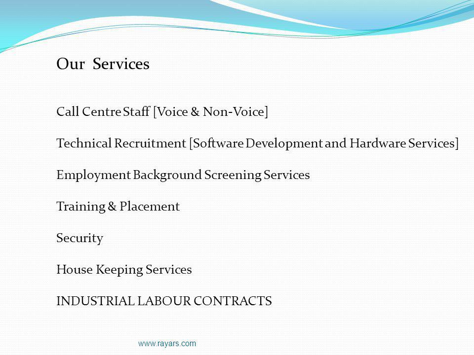 Our Services Call Centre Staff [Voice & Non-Voice]